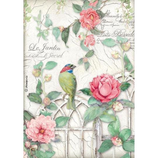 Gate with Bird - A4 -Stamperia Rice Paper
