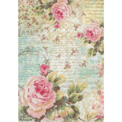 Rose and Writings - A4 -Stamperia Rice Paper