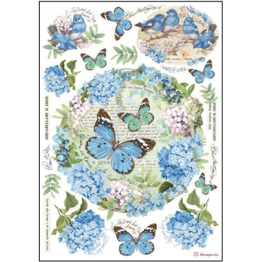 Ortensie and Butterfly - A4 -Stamperia Rice Paper