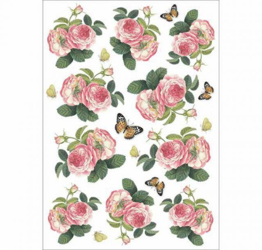 Roses and Butterfly - A4 -Stamperia Rice Paper