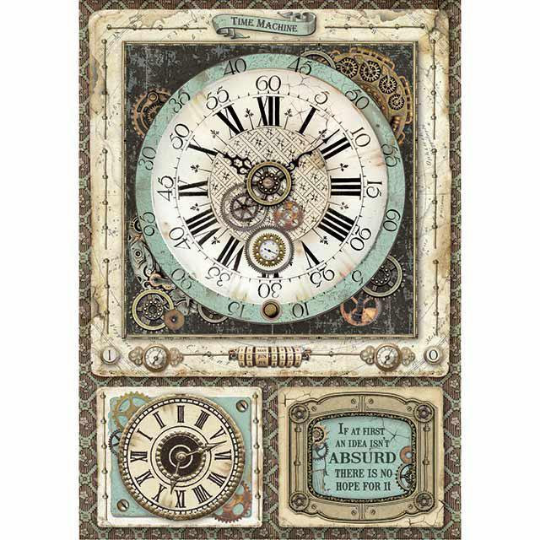 Voyages Fantastiques Clock - A4 -Stamperia Rice Paper