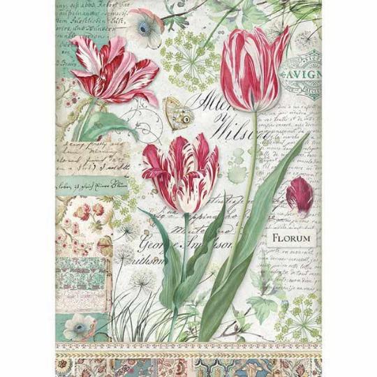 Red Tulip - A4 -Stamperia Rice Paper
