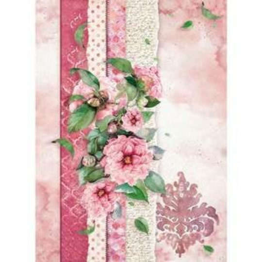 Flowers For You - Pink - A4 -Stamperia Rice Paper