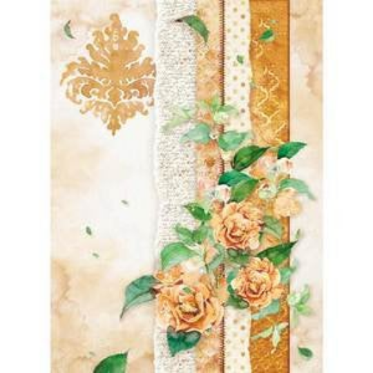 Flowers For You - Ocher - A4 -Stamperia Rice Paper