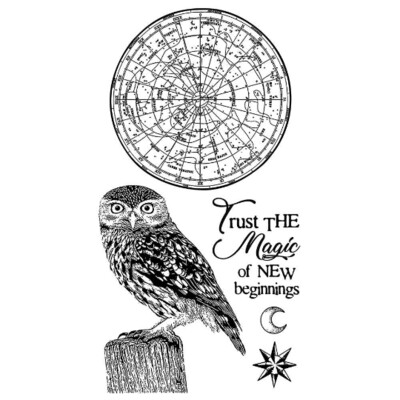 Cosmos Owl - HD Rubber Stamp -Stamperia Stamps