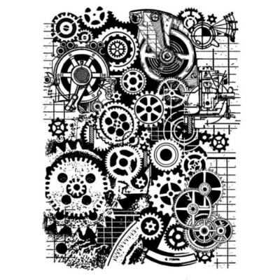 Mixed Media Gears - Mixed Media Stamp -Stamperia