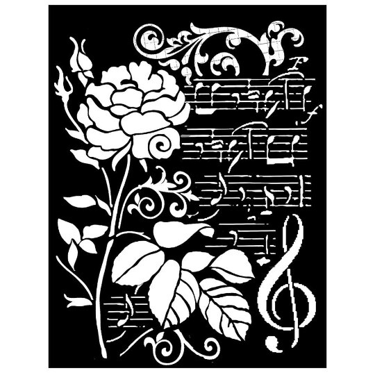 Rose and Music - Thick Stencil Media -Stamperia