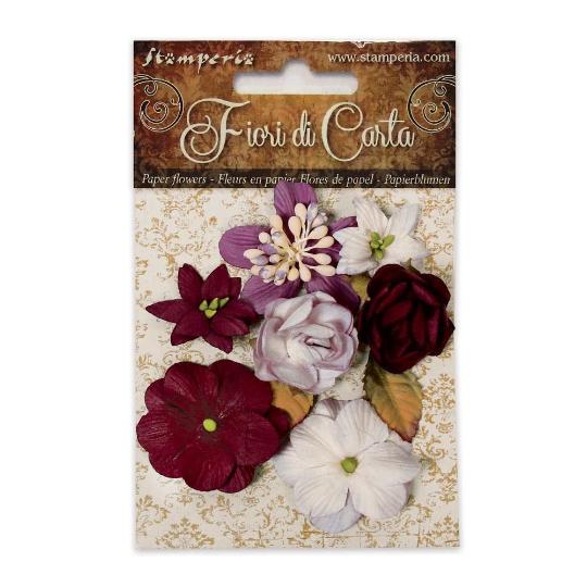 Bouquet of Dark Red Flowers - Stamperia