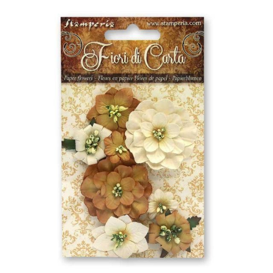 8 Assorted Ochre Flowers - Stamperia