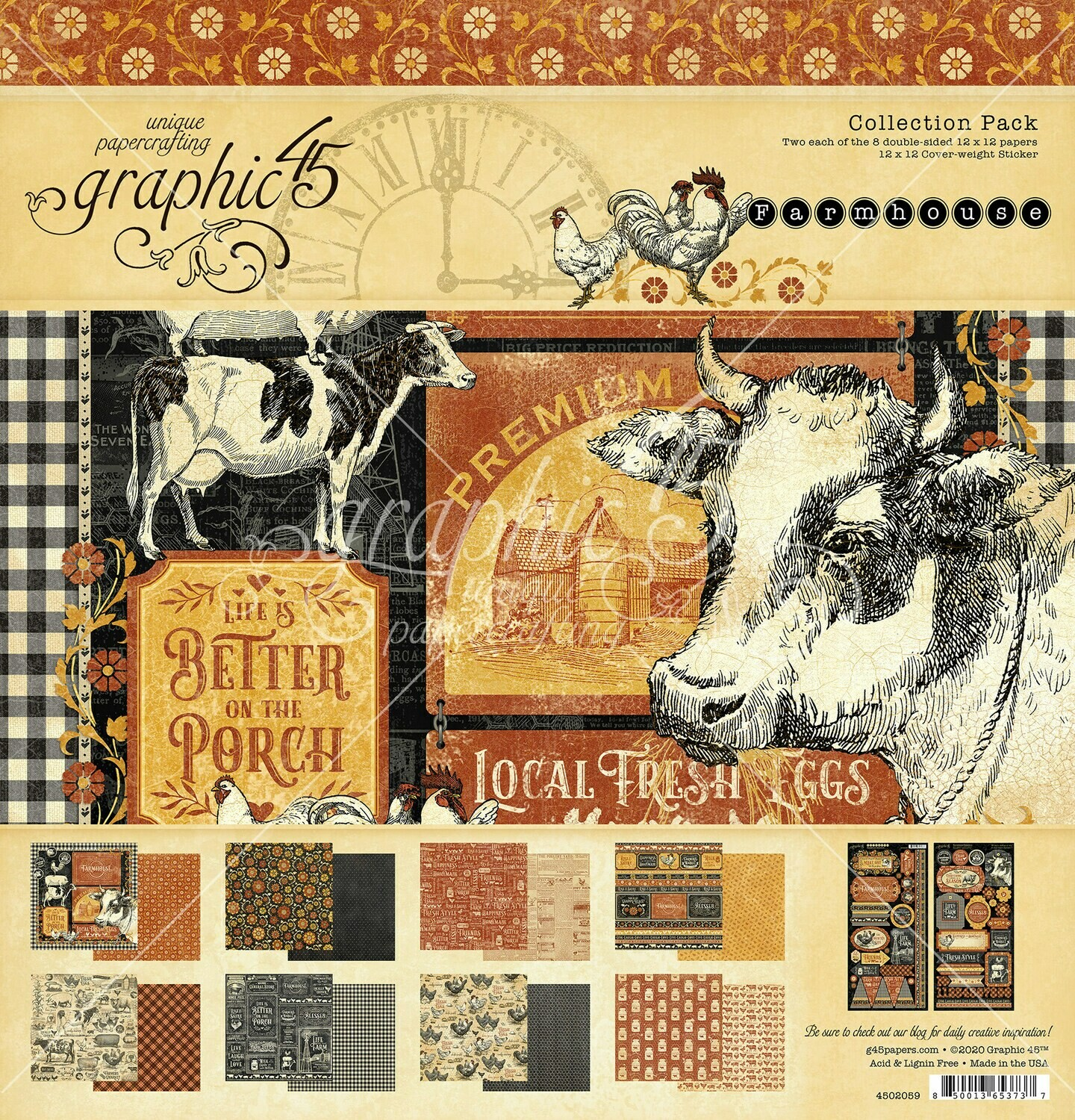12x12 Collection Pack w/ Stickers - Farmhouse Collection - Graphic 45