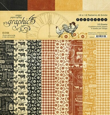 12x12 Patterns & Solids - Farmhouse Collection - Graphic 45