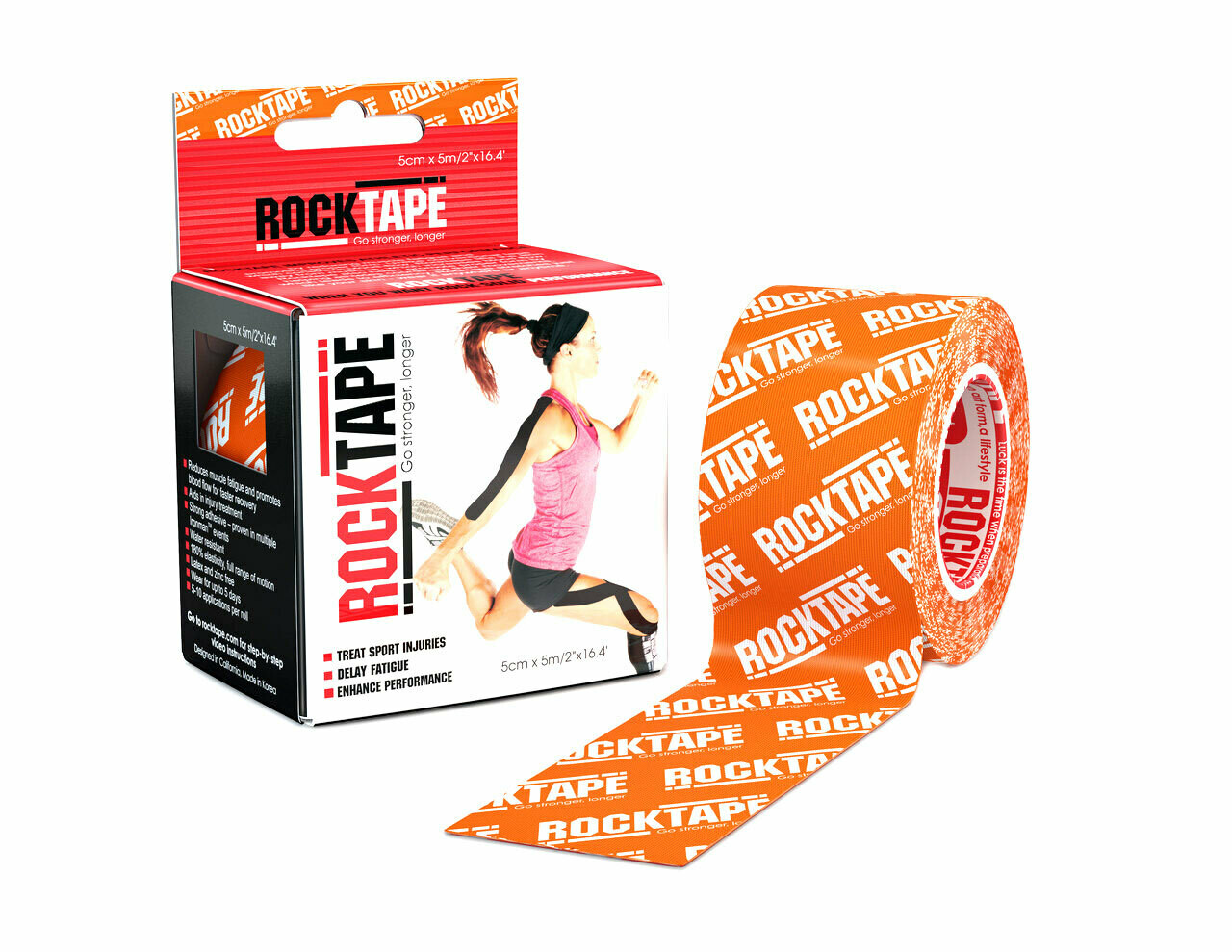 RockTape, 5см х 5м, оранжевый лого