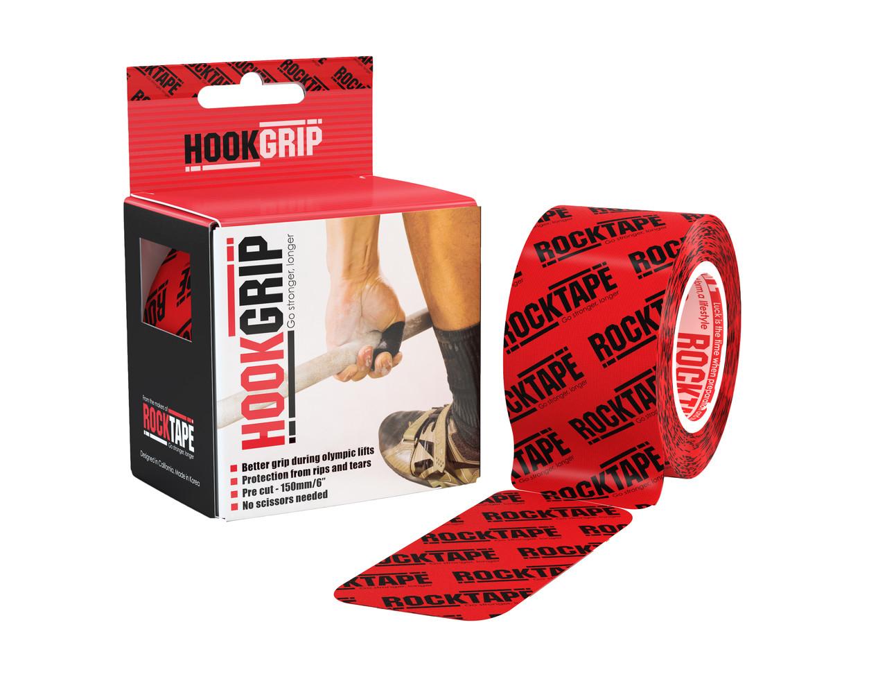RockTape, HookGrip, 5см х 5м, 32 полосы, красно-черный