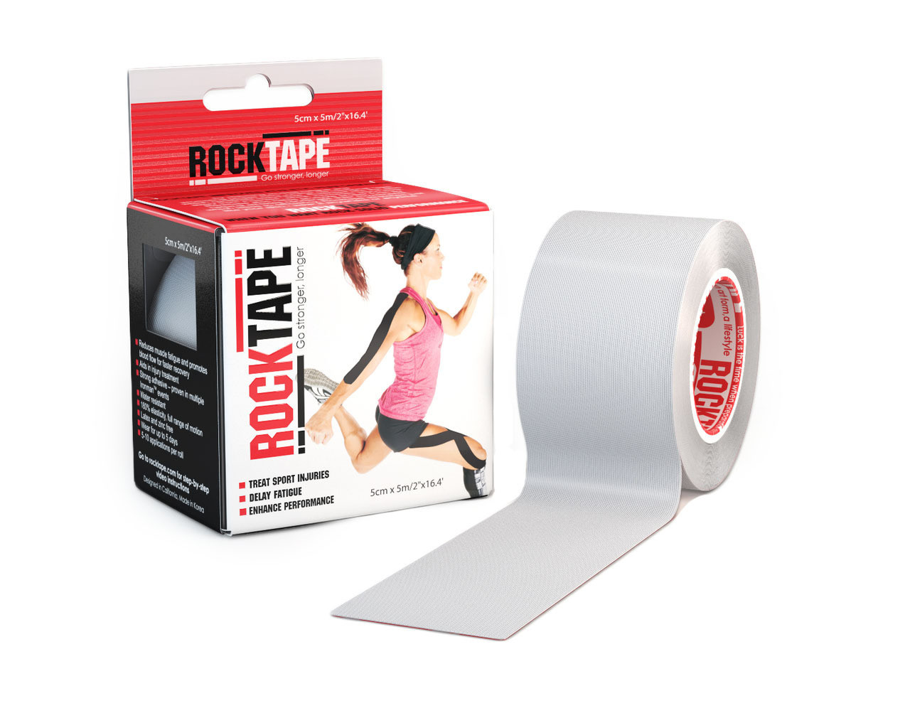 RockTape, 5см х 5м, серый