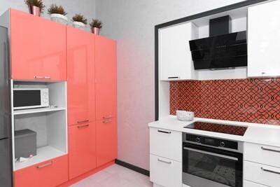 Кухня | Пленка | Глянец | Белый коралл