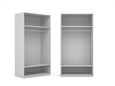 Корпус шкафа-купе с 1 штангой для 2-х дверей