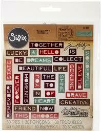 Tim Holtz Sizzix Thinlits Dies Pondering Words