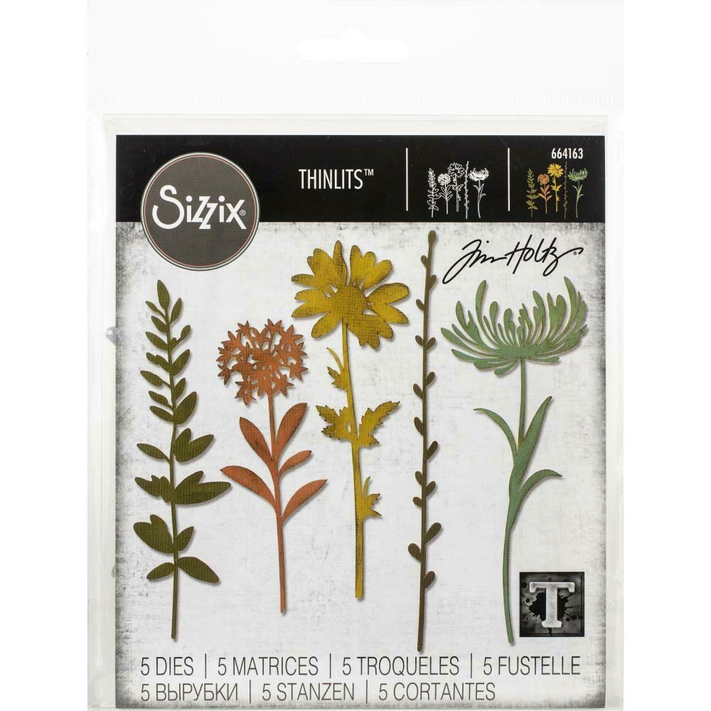 Tim Holtz Sizzix Thinlits Dies Wildflower Stems #1