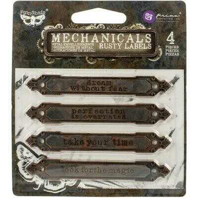 Finnabair Mechanicals Metal Embellishments Rusty Labels
