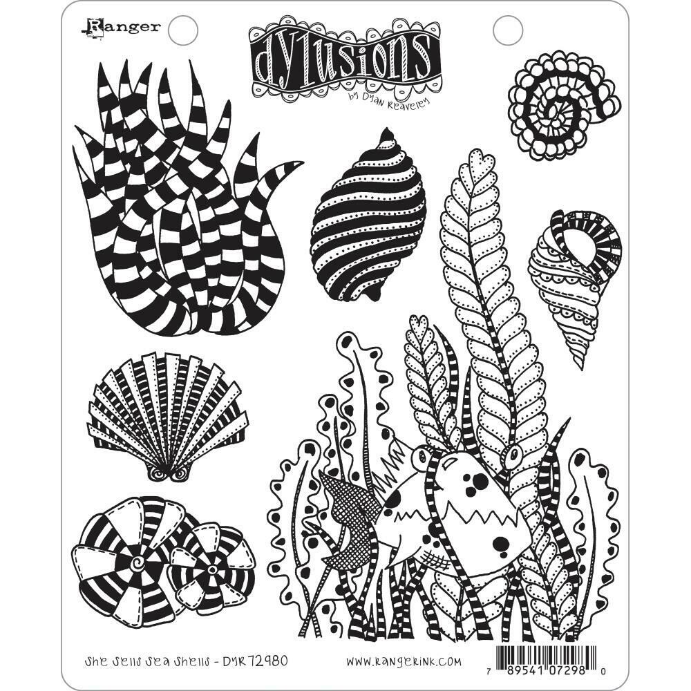 PREORDER Dyan Reaveley's Dylusions Cling Stamp She Sells Sea Shells