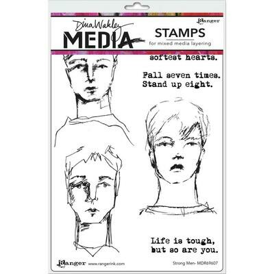PREORDER Dina Wakley Media Cling Stamps Strong Men