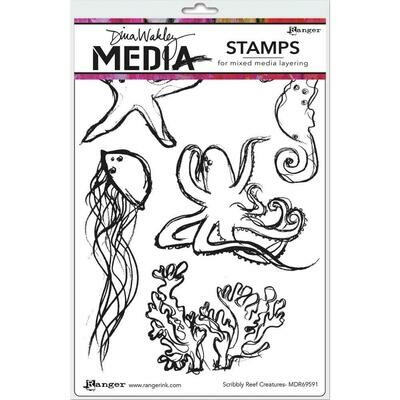 PREORDER Dina Wakley Media Cling Stamps Scribbly Reef Creatures