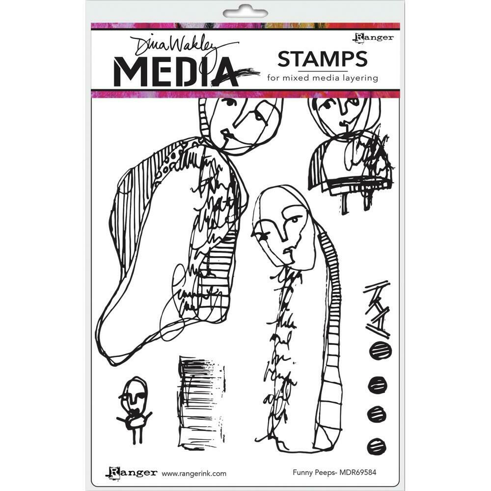 PREORDER Dina Wakley Media Cling Stamps Funny Peeps
