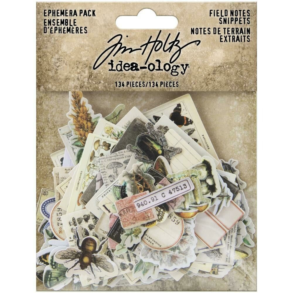 Tim Holtz Idea-Ology Ephemera Pack Field Notes Snippets