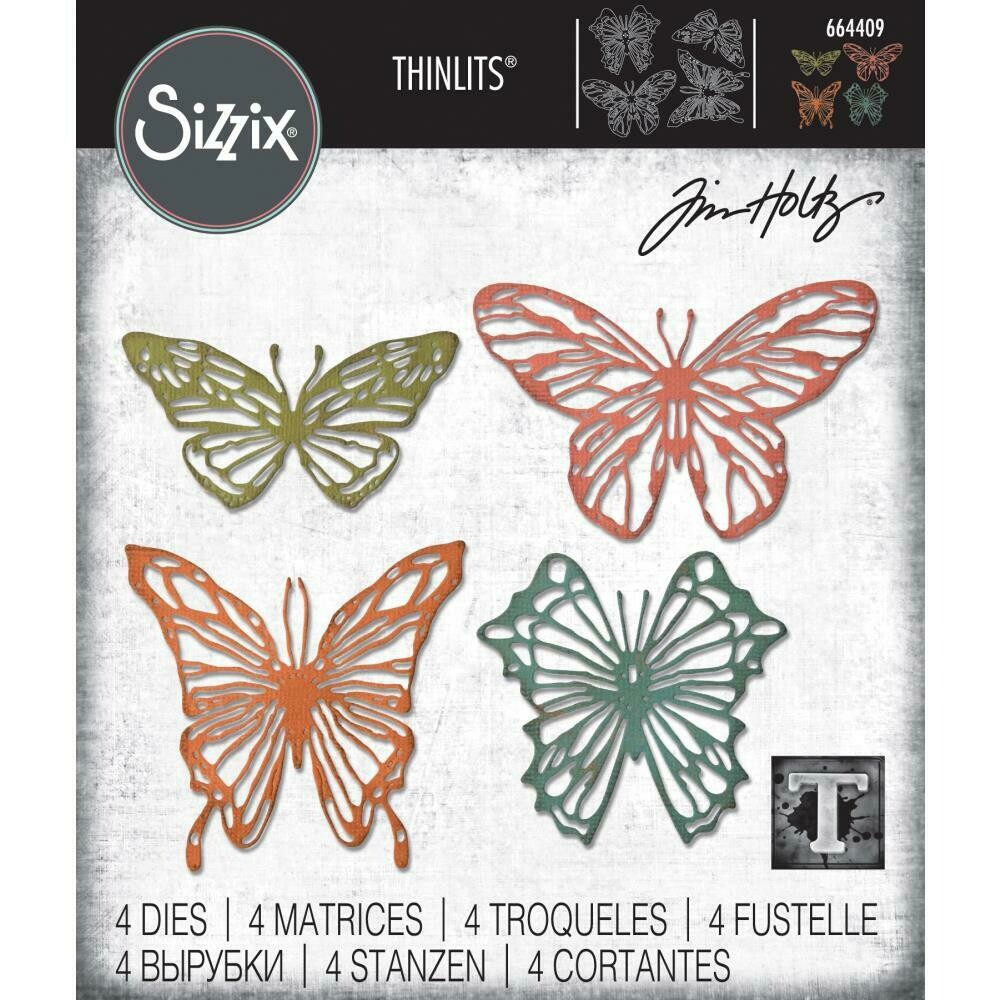 PREORDER Tim Holtz Sizzix Thinlits Dies Scribbly Butterfly