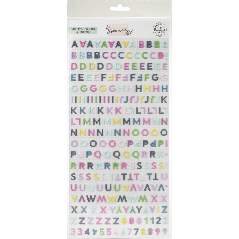 PinkFresh - Noteworthy Mini Puffy Alpha Stickers