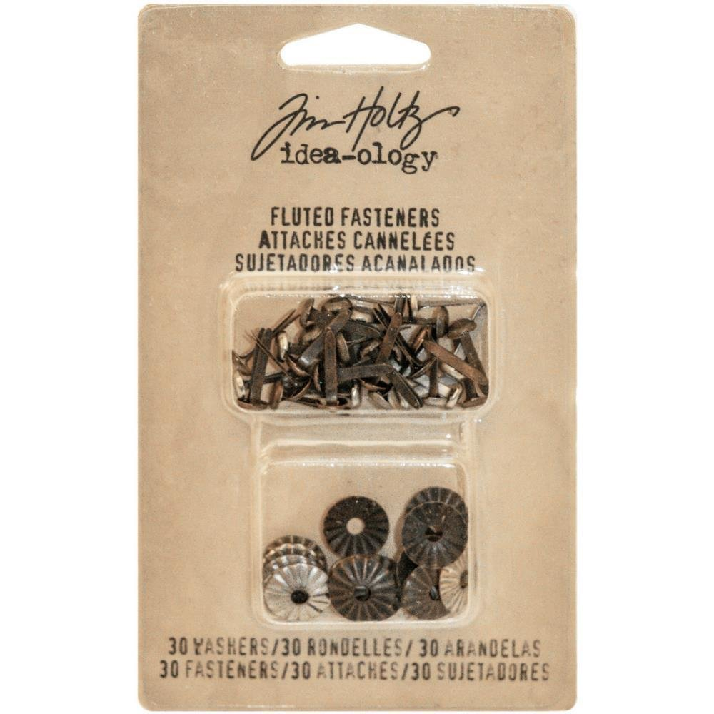 """Tim Holtz Idea-Ology Fluted Paper Fasteners W/Washers .5"""""""
