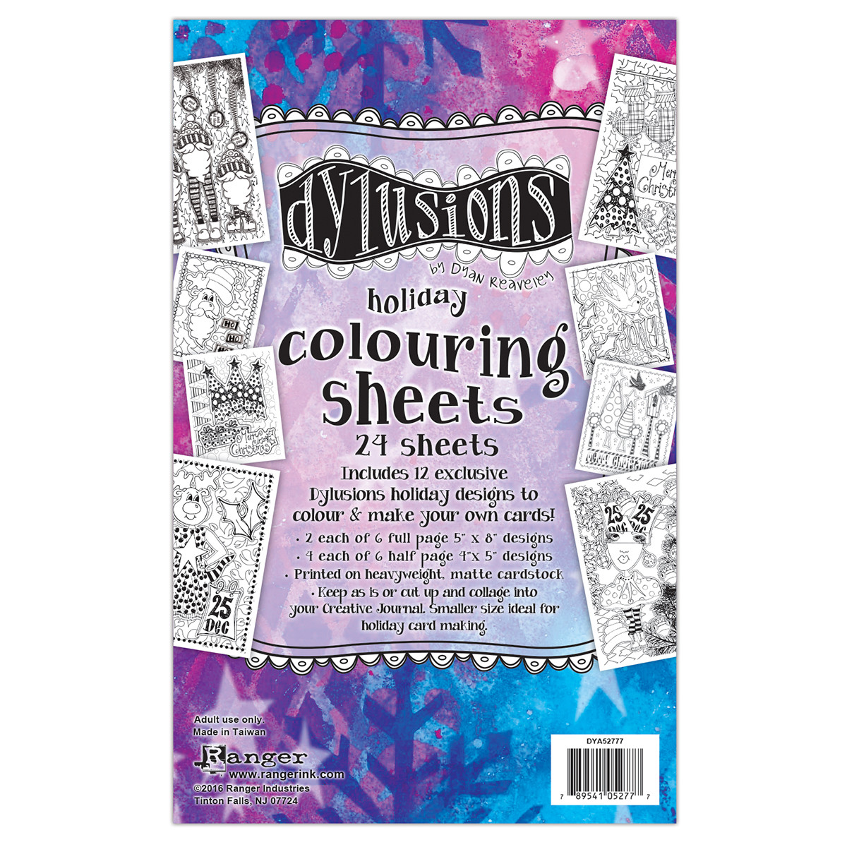 Dylusions Colouring Sheets Holiday