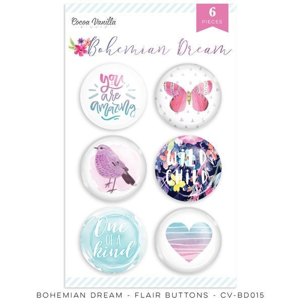 Cocoa Vanilla Bohemian Dream Flair Buttons