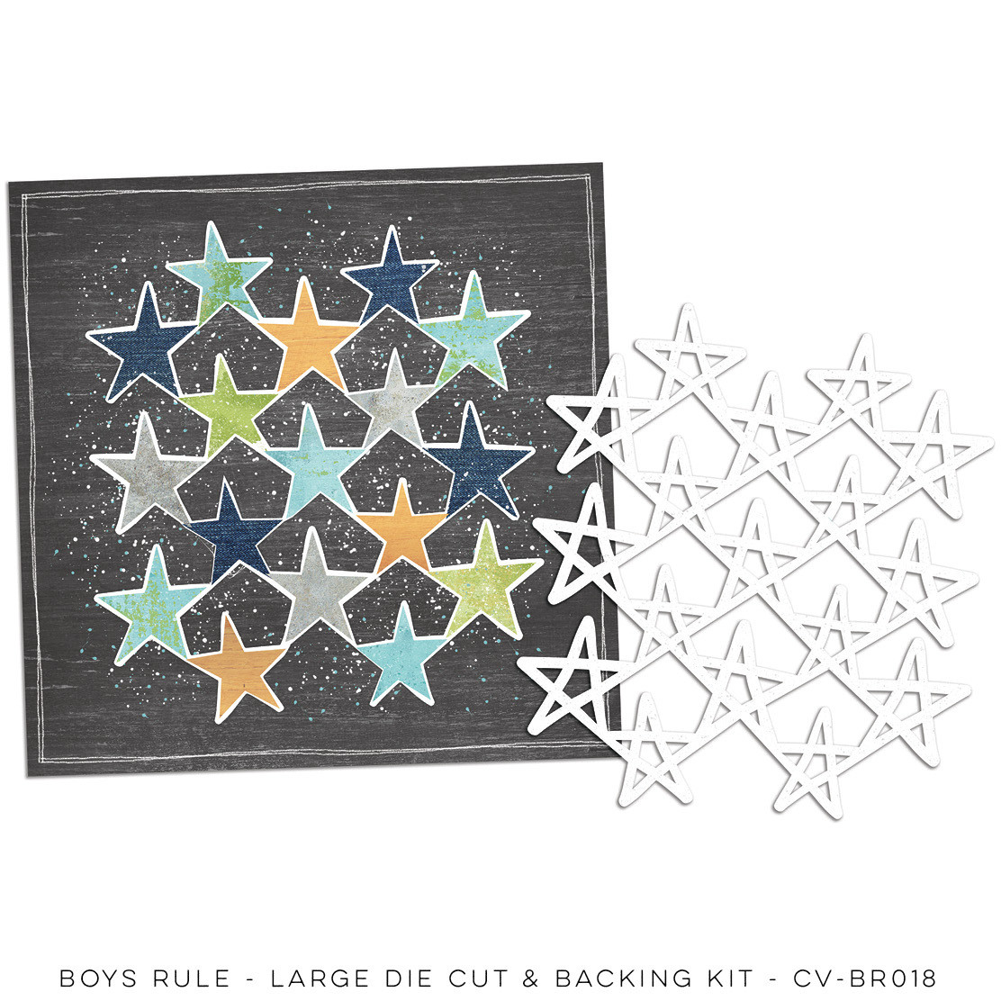 Cocoa Vanilla Boys Rule Large Die Cut & Backing Kit