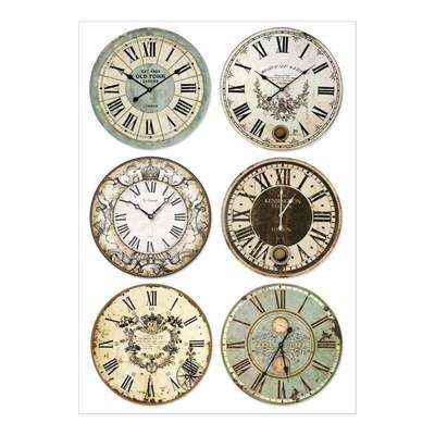 Stamperia Rice Paper Sheet A4 Packed Clocks