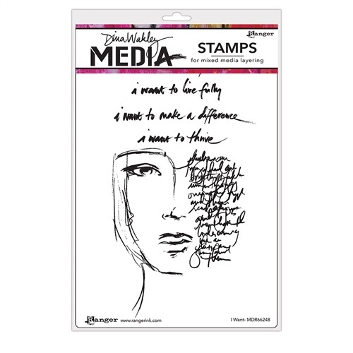 PREORDER Dina Wakley Media Cling Stamps I Want