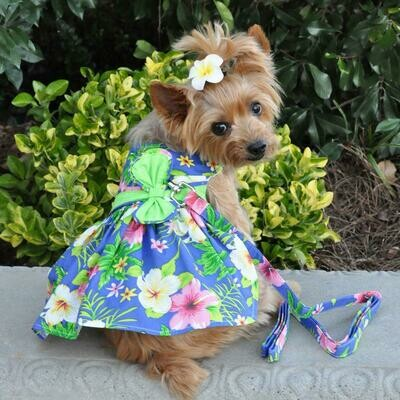 Blue Lagoon Hawaiian Hibiscus Dog Dress with Leash