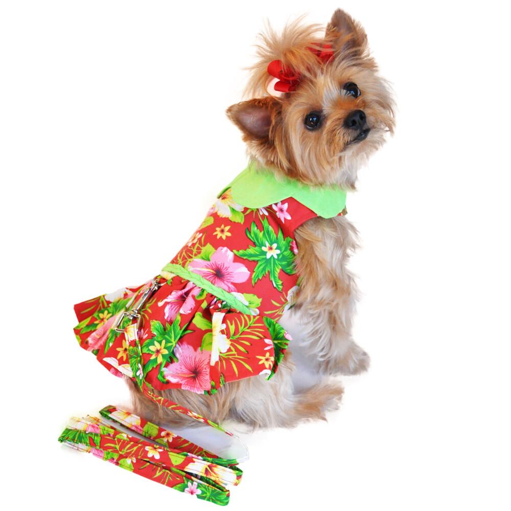 Hawaiian Red Hibiscus Designer Dog Dress