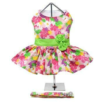Pink Hawaiian Floral Dog Harness Dress with Leash