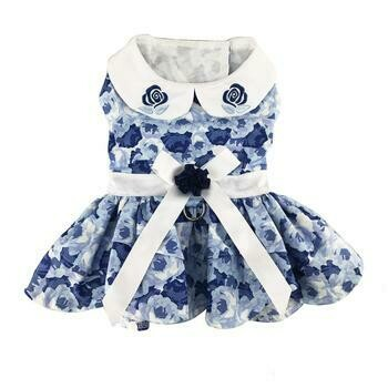 Blue Rose Harness Dress with Matching Leash