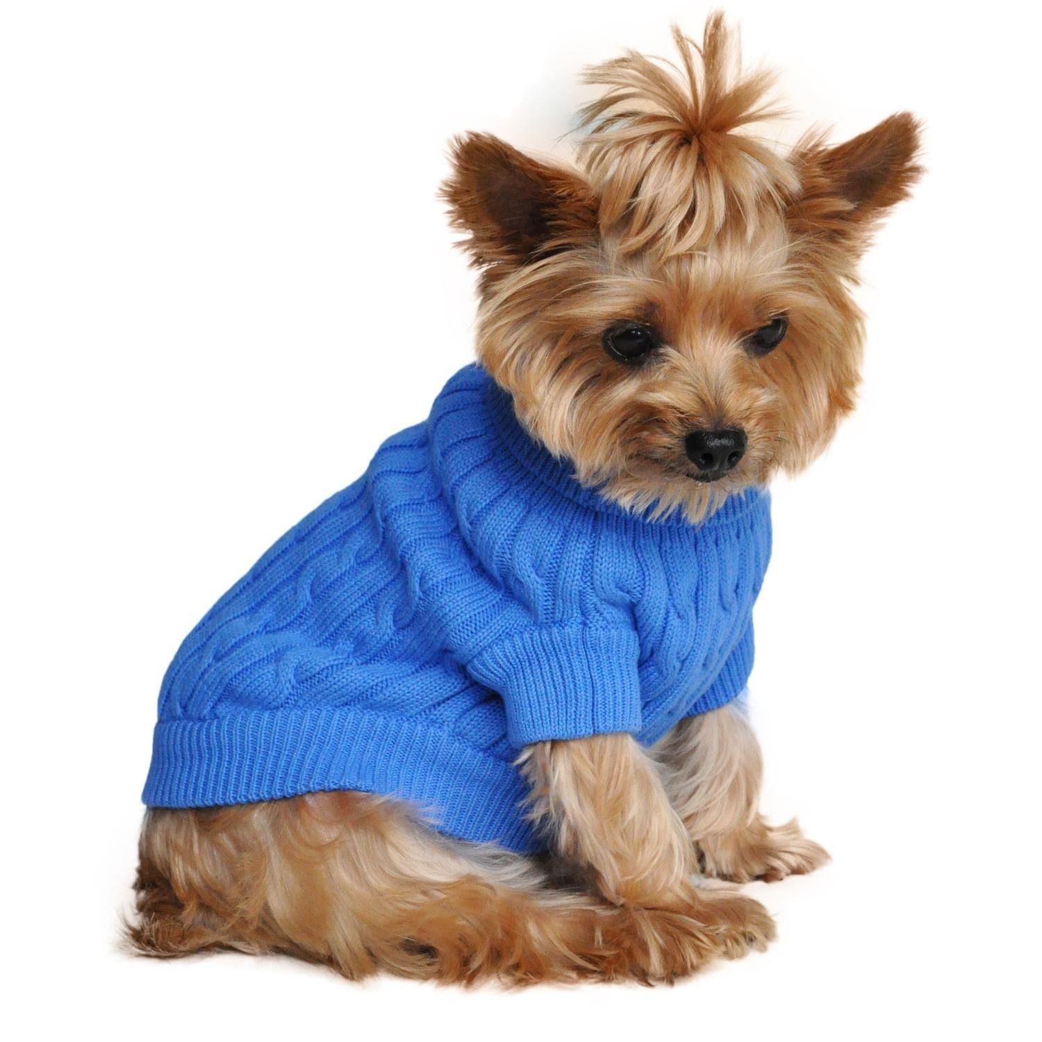 Combed Cotton Cable Knit Dog Sweater (Riverside Blue)