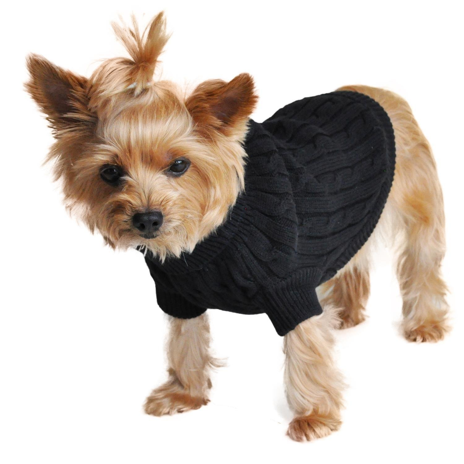 Combed Cotton Cable Knit Dog Sweater (Black)