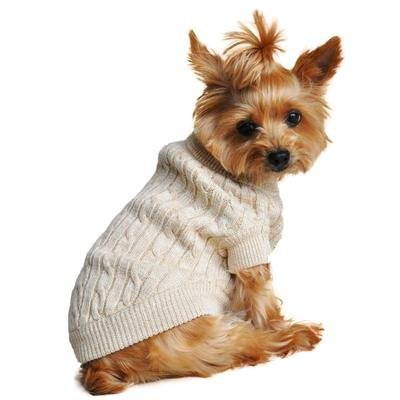 Combed Cotton Cable Knit Dog Sweater (Oatmeal)