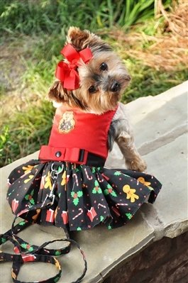 Holiday Dog Harness Dress (Gingerbread)