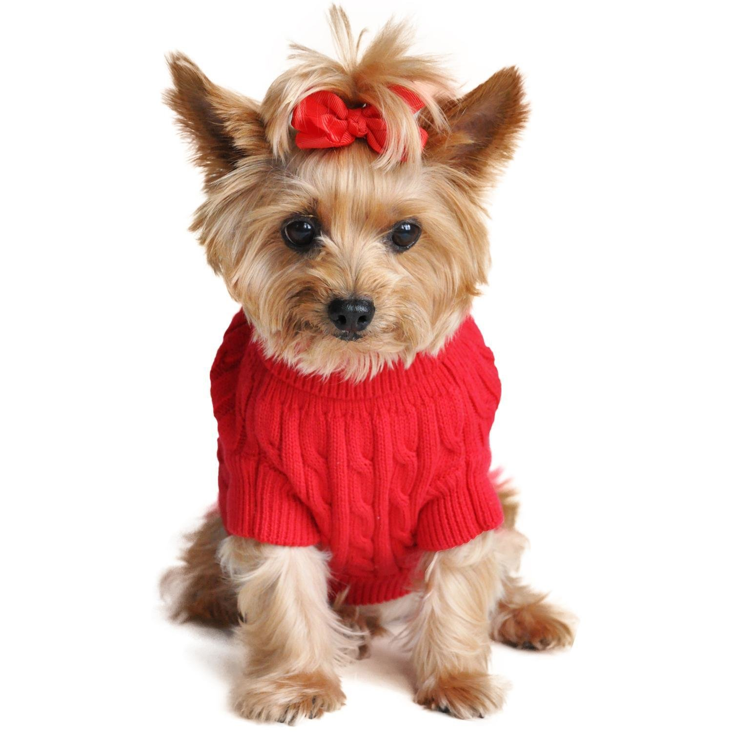 Combed Cotton Cable Knit Dog Sweater (Fiery Red)