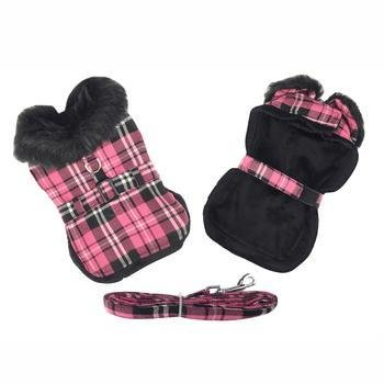 Hot Pink Plaid w/Black Thick Fur Collar Harness Coat