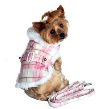 Pink & White Plaid Fur Trimmed Dog Coat & Harness