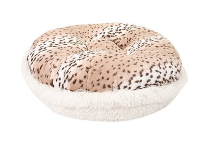 Snow Leopard & Cream Shag Bagel Bed