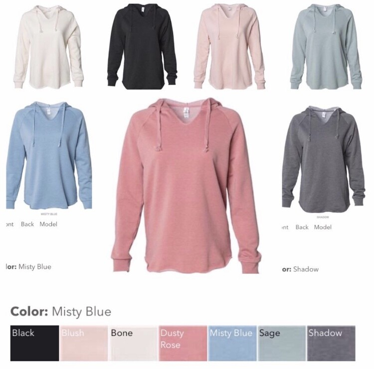 Lightweight California Wave Washed Hooded Pullover Sweatshirt