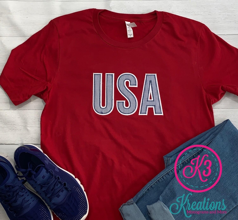Blue Seersucker USA Short Sleeve T-shirt (Choice of Shirt Brand)